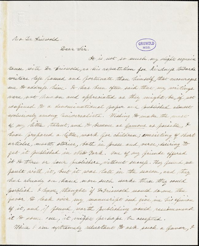 Mary Ann Hanmer Dodd, New York, autograph letter signed to R. W. Griswold, 11 January 1854