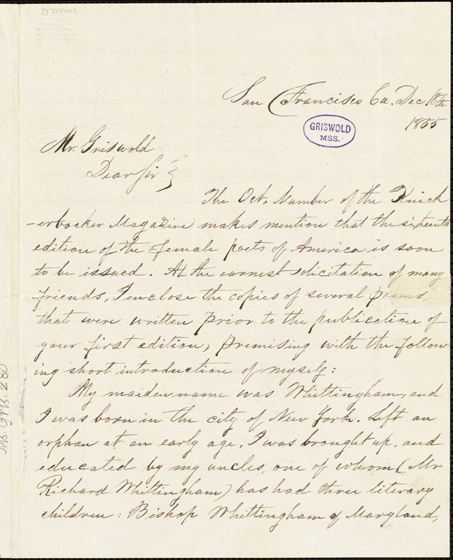 Sarah Anna (Whittingham) Downer, San Francisco, CA., autograph letter signed to R. W. Griswold, 18 December 1855