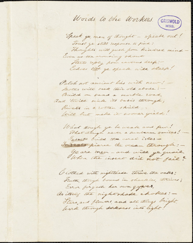 """Augustine Joseph Hickey Duganne manuscript poem, [1847-1855]: """"Words to the Workers."""""""
