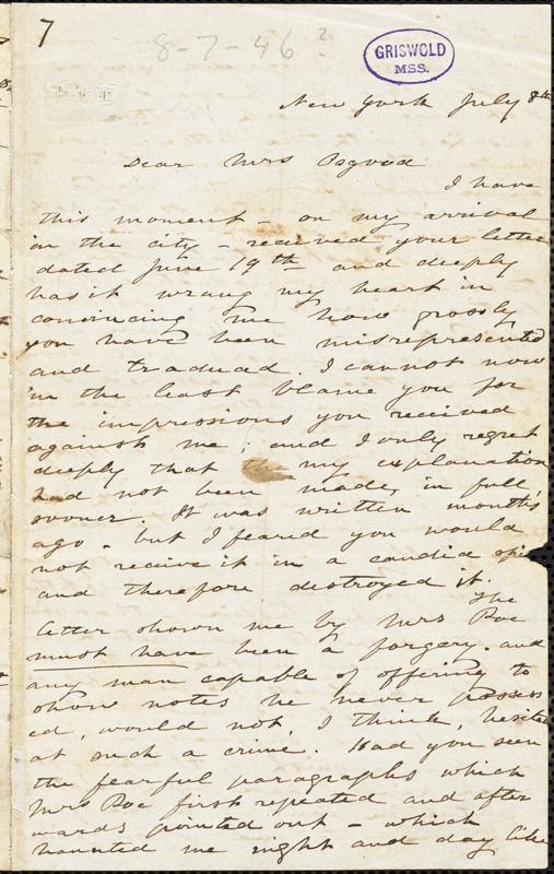Elizabeth Fries (Lummis) Ellet, New York, autograph letter signed to Frances Sargent (Locke) Osgood, 8 July [1846?]
