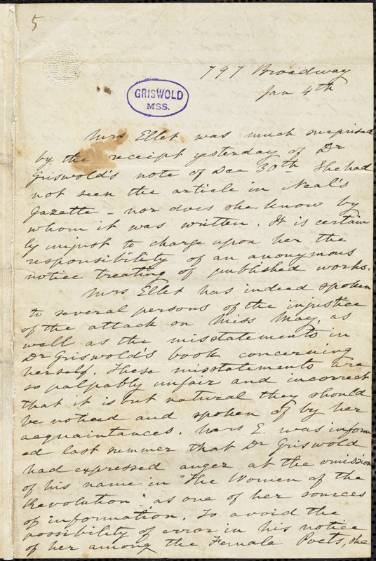 Elizabeth Fries (Lummis) Ellet, 797 Broadway, New York, NY., autograph letter signed to R. W. Griswold, [1849]