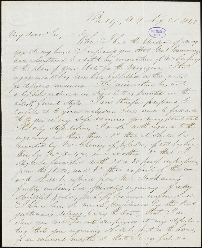 Daniel Embury, Brooklyn, NY., autograph letter signed to R. W. Griswold, 25 August 1842