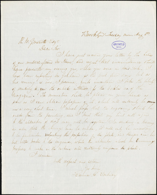 Emma Catherine (Manley) Embury, Brooklyn, NY., autograph letter signed to R. W. Griswold, 2 August [1842?]