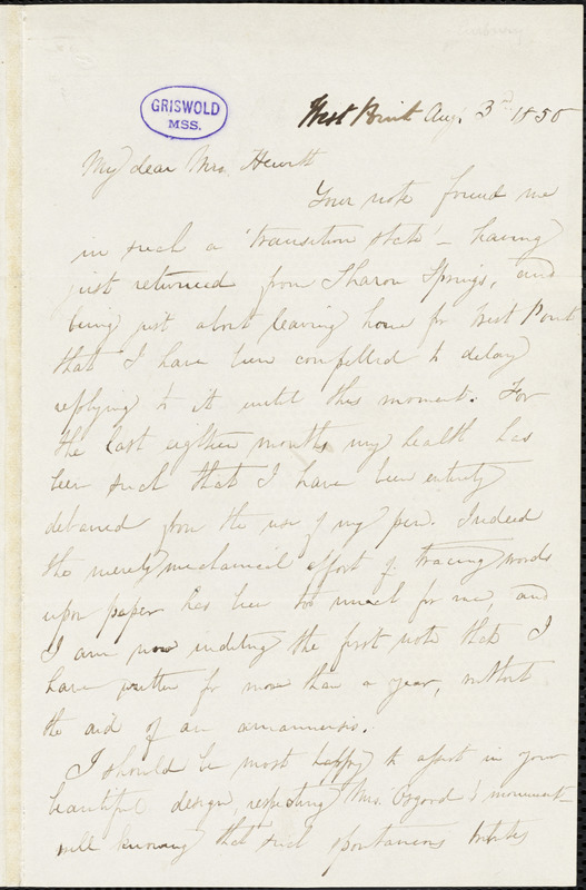 Emma Catherine (Manley) Embury, West Point, NY., autograph letter signed to Mary Elizabeth Hewitt, 3 August 1850
