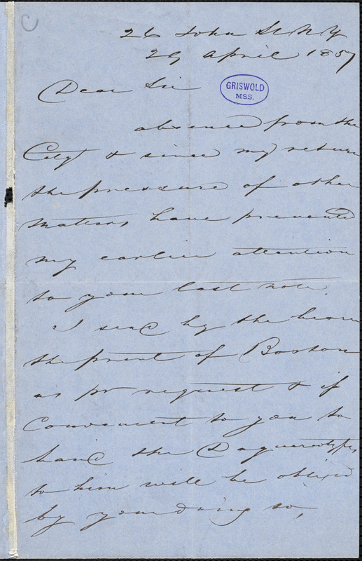 J. Emmins, New York, autograph letter signed to [R. W. Griswold?], 29 April 1857
