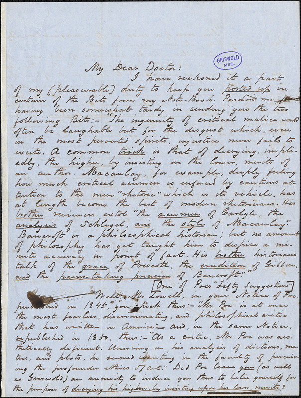 George W. Eveleth, Portland, ME., autograph letter signed to R. W. Griswold or Edgar Allan Poe [sic.], 3 April 1852