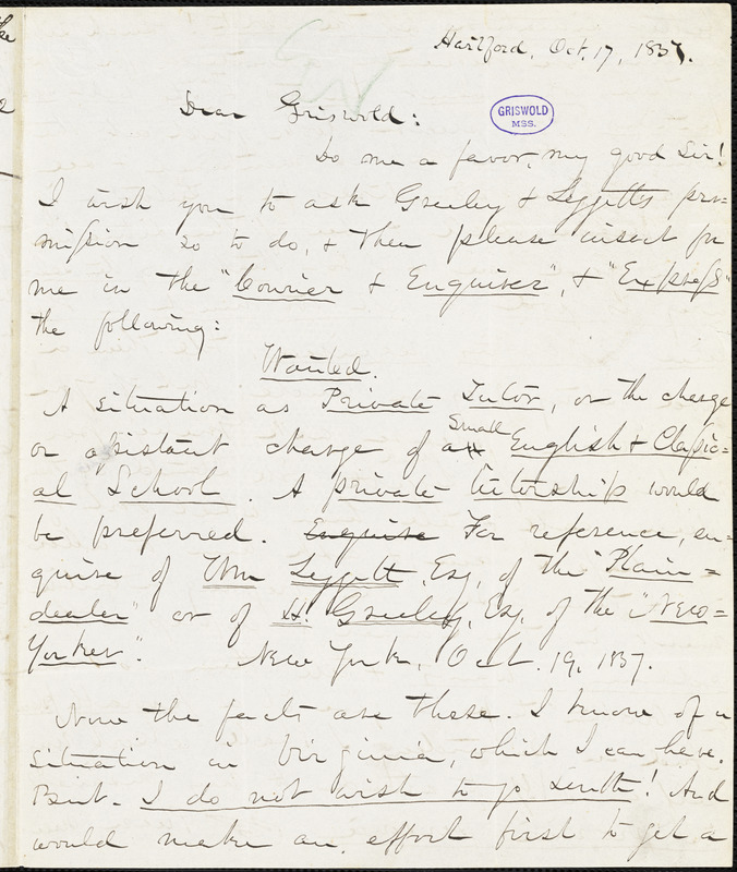Charles William Everest, Hartford, CT., autograph letter signed to R. W. Griswold, 17 October 1837