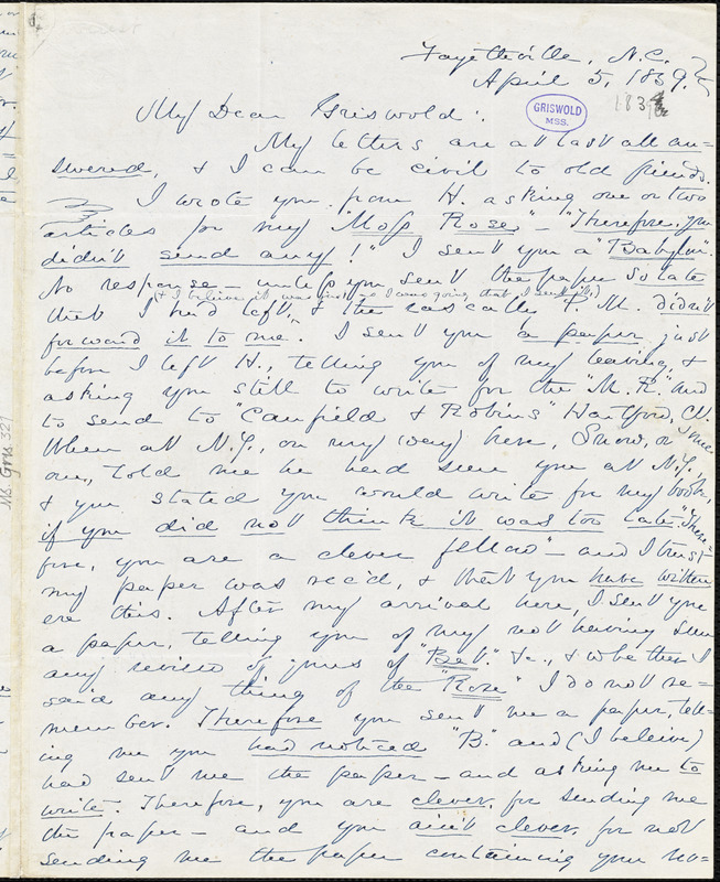 Charles William Everest, Fayetteville, NC., autograph letter signed to R. W. Griswold, 5 April 1839