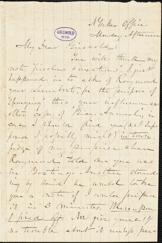 Charles William Everest, New York Office., autograph letter signed to R. W. Griswold