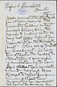 William Wallace Everts, New York, autograph letter signed to R. W. Griswold, 12 March 1849