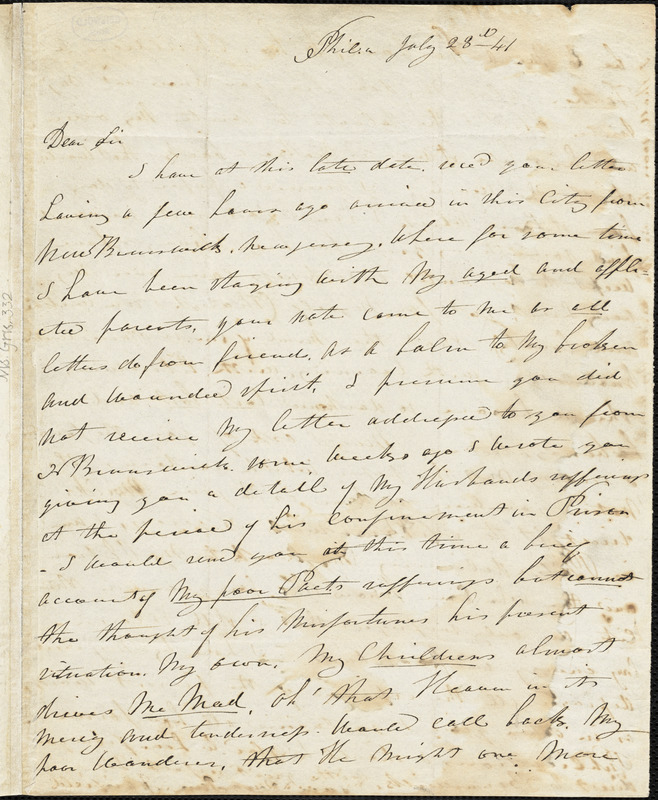 Jane (Frazee) Fairfield, Philadelphia, PA., autograph letter signed to R. W. Griswold, 23 July 1841