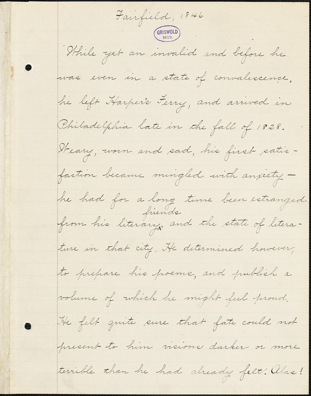Sumner Lincoln Fairfield manuscript, [1846?]