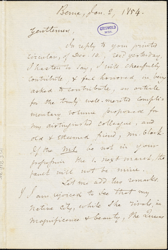 Theodore Sedgwick Fay, Berne, Switzerland., autograph letter signed to John Wakefield Francis, 2 January 1854
