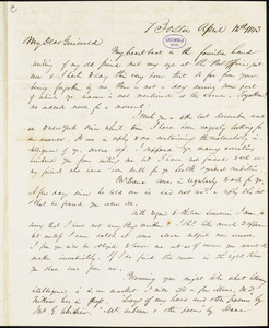James Thomas Fields, Boston, autograph letter signed to R. W. Griswold, 12 April 1843