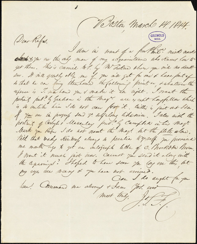 James Thomas Fields, Boston, autograph letter signed to R. W. Griswold, 14 March 1844