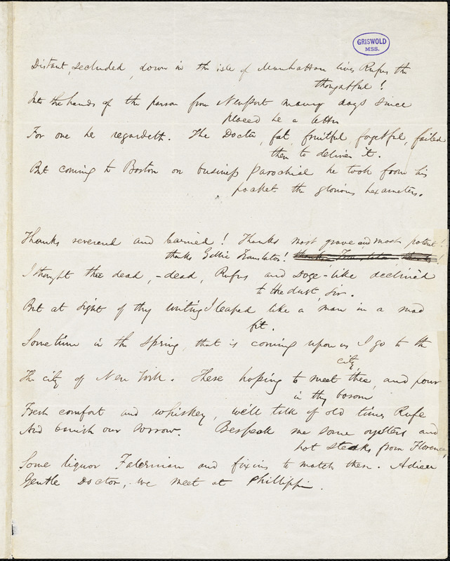 "James Thomas Fields manuscript poem, Boston, 12 Feb [1844]: ""Distant, secluded, down in the isle of Manhattan lives Rufus the thoughtful!"""