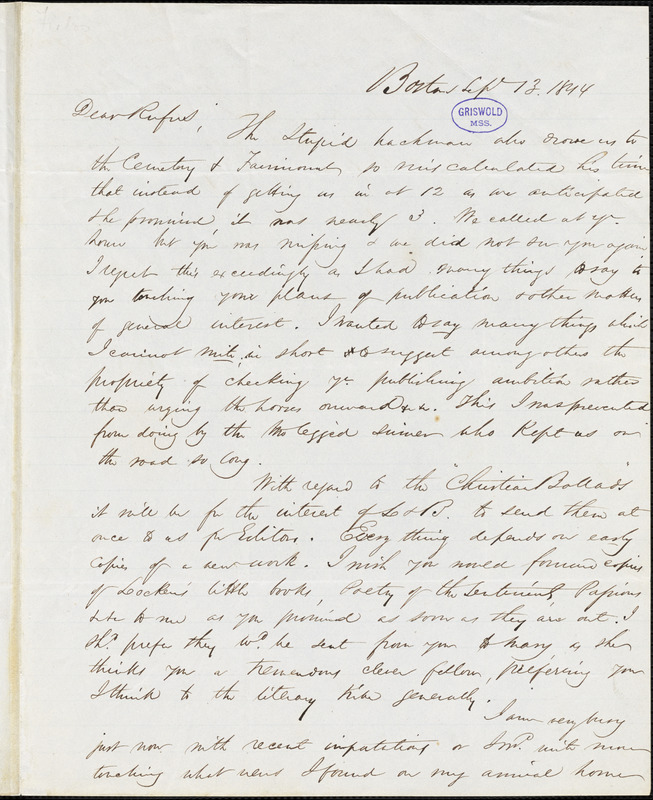 James Thomas Fields, Boston, autograph letter signed to R. W. Griswold, 13 September 1844