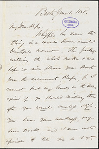 James Thomas Fields, Boston, MA., autograph letter signed to R. W. Griswold, 1 June 1848