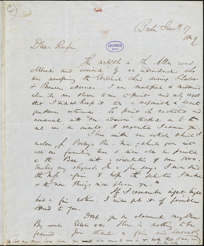 James Thomas Fields, Boston, MA., autograph letter signed to R. W. Griswold, 17 January 1849