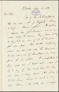 James Thomas Fields, Boston, MA., autograph letter signed to R. W. Griswold, 11 November 1850