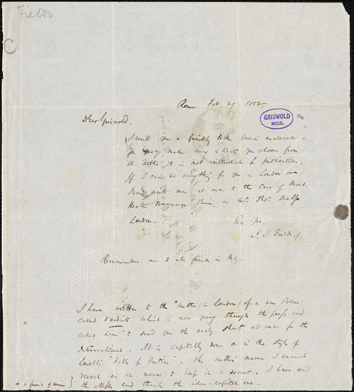 James Thomas Fields, Rome, Italy., autograph letter signed to R. W. Griswold, 29 February 1852