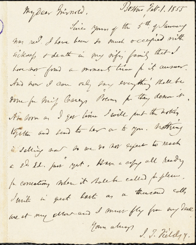 James Thomas Fields, Boston, MA., autograph letter signed to R. W. Griswold, 1 February 1855