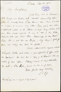 James Thomas Fields, Boston, MA., autograph letter signed to R. W. Griswold, 28 February 1855
