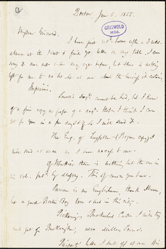 James Thomas Fields, Boston, MA., autograph letter signed to R. W. Griswold, 5 June 1855