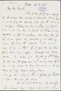 James Thomas Fields, Boston, MA., autograph letter signed to R. W. Griswold, 18 July 1855