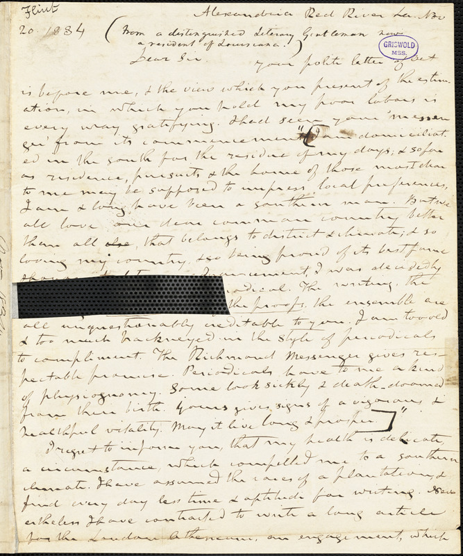 Timothy Flint, Alexandria Red River, LA., autograph letter signed to Thomas W. White, 20 November 1834