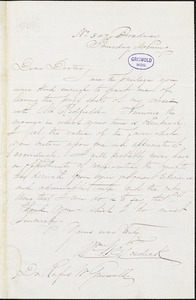 William Whiteman Fosdick, No .347 Broadway, (New York?) Thursday morning., autograph letter signed to R. W. Griswold