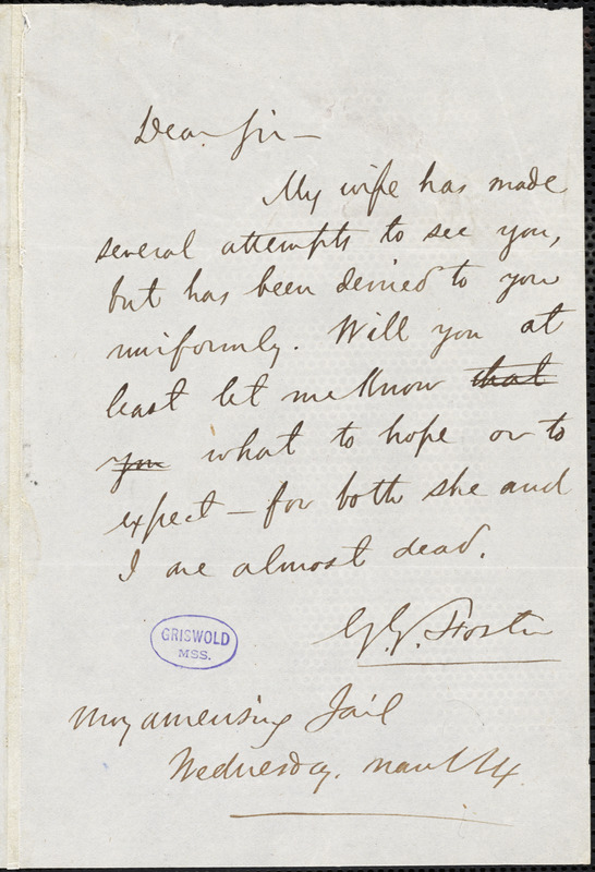 George G. Foster, Moyamensing Jail., autograph letter signed to R. W. Griswold, 14 March [1854?]