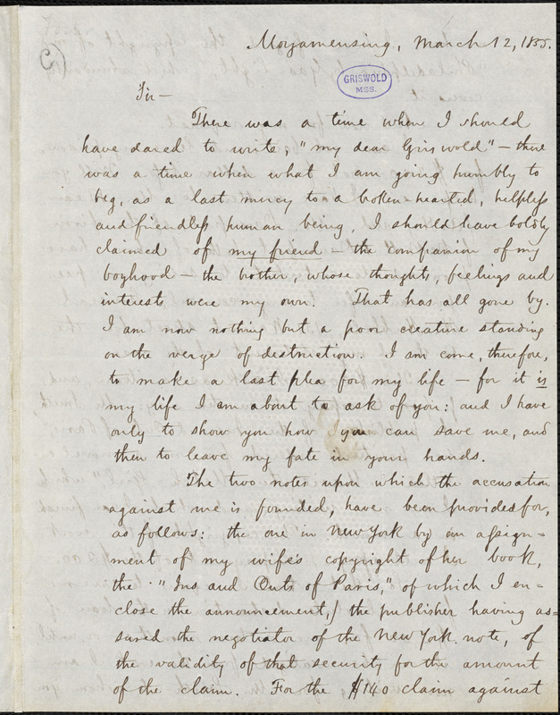 George G. Foster, Moyamensing., autograph letter signed to R. W. Griswold, 12 March 1855