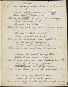 "Anna Mary Freeman manuscript poem: ""Lines on seeing some Jessamine Flowers."""