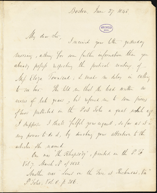 Nathaniel Langdon Frothingham, Boston, MA., autograph letter signed to R. W. Griswold, 27 June 1848