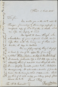 William Henry Furness, Philadelphia, PA., autograph letter signed to R. W. Griswold, 3 October 1855