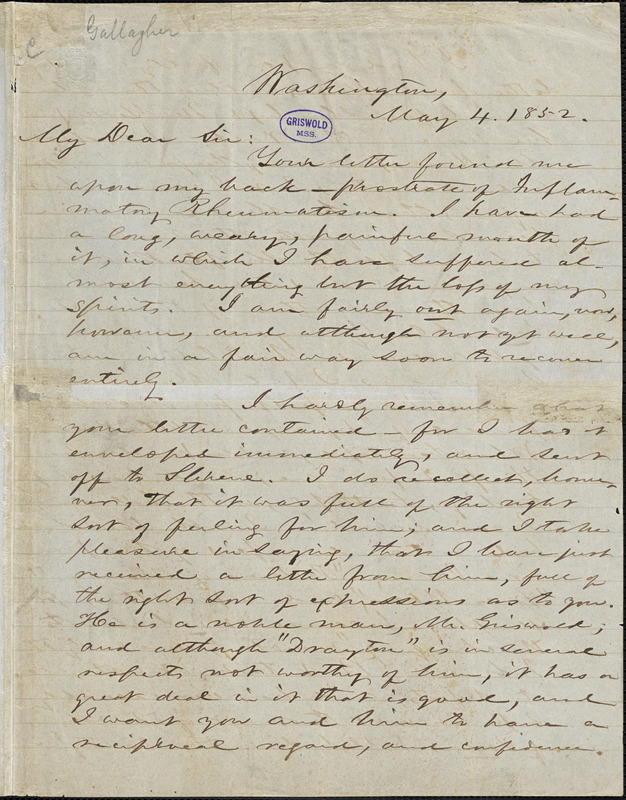 William Davis Gallagher, Washington, DC., autograph letter signed to R. W. Griswold, 4 May 1852