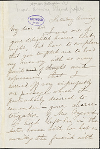 William Mitchell Gillespie, Saturday morning, autograph letter signed to Edgar Allan Poe