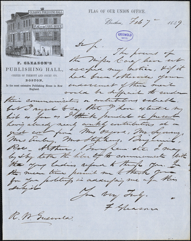 Frederick Gleason, Boston, MA., autograph letter signed to R. W. Griswold, 7 February 1849