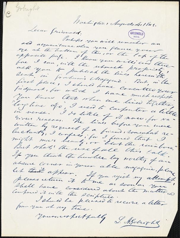 Lawrence Augustus Gobright, Washington, DC., autograph letter to R. W. Griswold, 4 August 1843