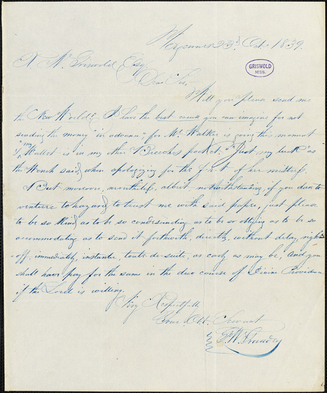 George W. Grandey, Vergennes, VT., autograph letter signed to R. W. Griswold, 23 October 1839