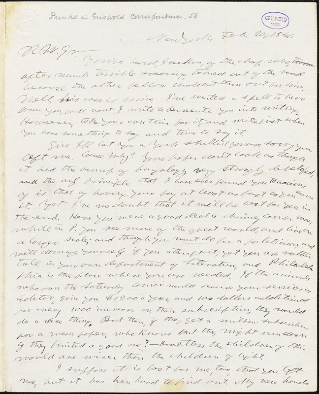 Horace Greeley, New York, autograph letter signed to R. W. Griswold, 20 February 1841