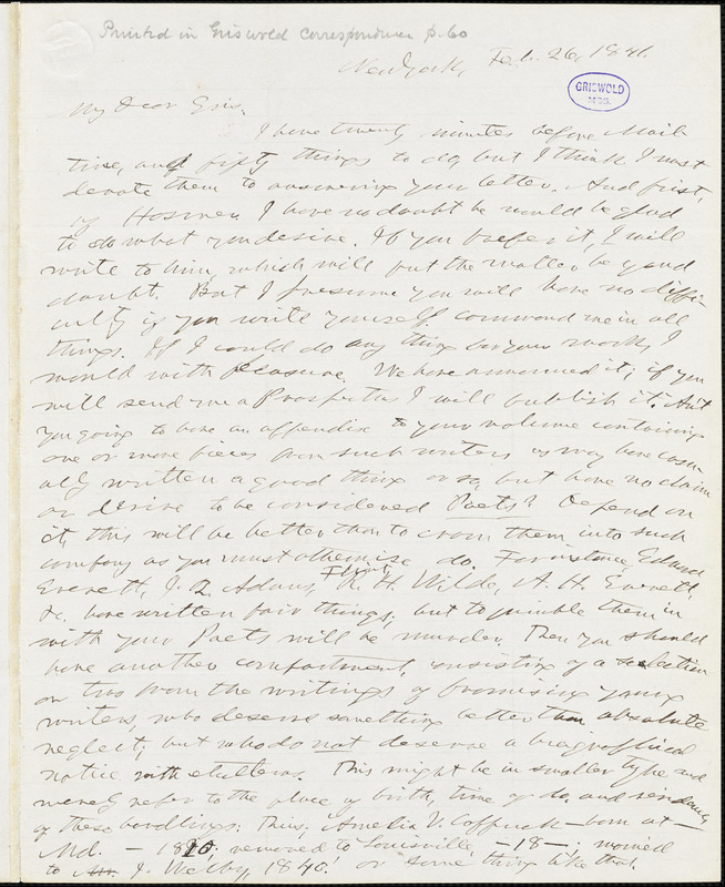 Horace Greeley, New York, autograph letter signed to R. W. Griswold, 26 February 1841