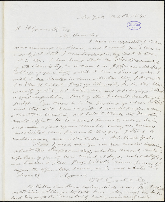 Horace Greeley, New York, autograph letter signed to R. W. Griswold, 28 February 1841