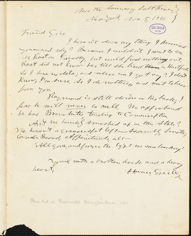 Horace Greeley, New York, autograph letter signed to R. W. Griswold, 5 November 1841