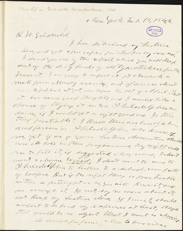 Horace Greeley, New York, autograph letter signed to R. W. Griswold, 18 February 1842