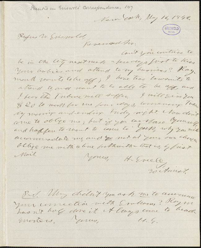 Horace Greeley, New York, autograph letter signed to R. W. Griswold, 16 May 1842