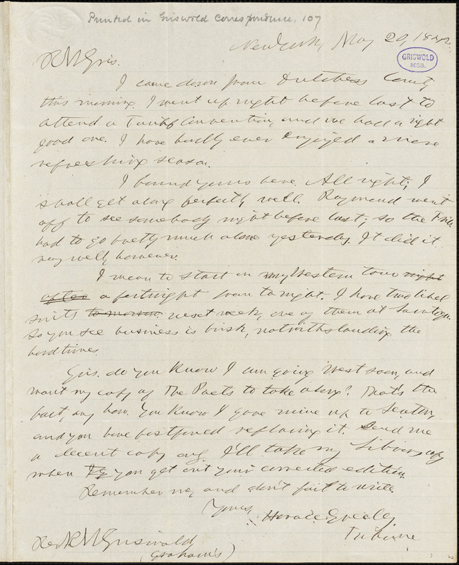 Horace Greeley, New York, autograph letter signed to R. W. Griswold, 20 May 1842