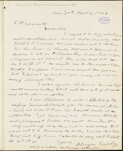 Horace Greeley, New York, autograph letter signed to R. W. Griswold, 6 April 1843