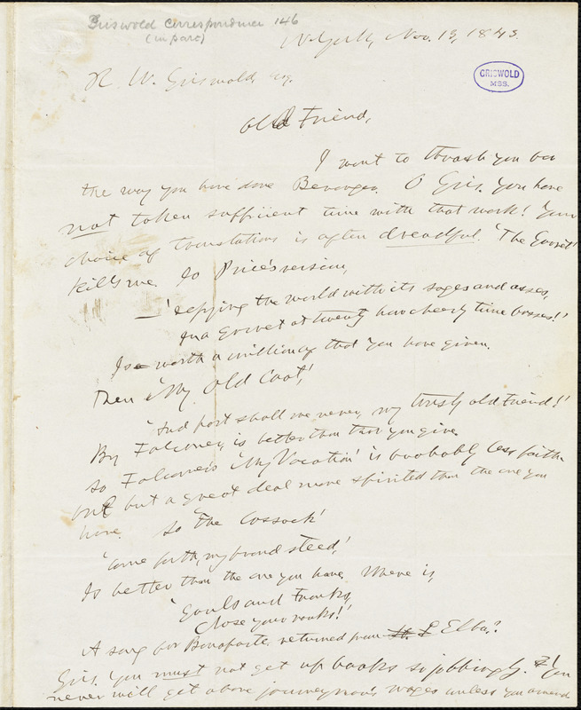 Horace Greeley, New York, autograph letter signed to R. W. Griswold, 13 November 1843